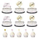 TankerStreet 26 Pezzi Cake Topper Compleanno Riutilizzabile Topper per Torte Compleanno Ac...
