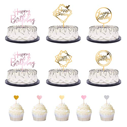 TankerStreet 26 Stück Happy Birthday Cake Topper Wiederverwendbar Acryl Geburtstag Topper Personalisierung Cake Toppers Kuchen Deko Geeignet für alle Arten Von Kuchen, EIS, Obst Dekoration
