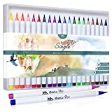 MozArt Supplies 5374920, Set de pinceles de colores, punta suave flexible de pincel real, efecto acuarela, 20 unidades