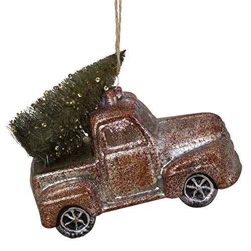 "Northlight 5.75"" Retro Mercury Glass Country Rustic Pickup Truck Christmas Ornament"
