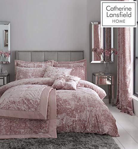 Catherine Lansfield Crushed Velvet Super King Duvet Set Blush