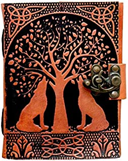 Anshika International Leather Journal Lock Diary Book with Fine Paper, Hand Embossed Foliage Patterned Flap Cover (Size -...