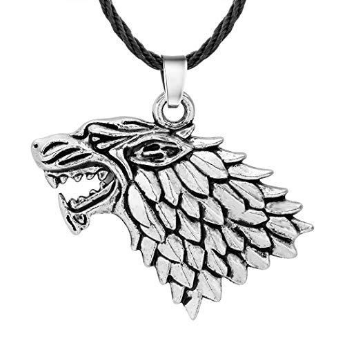 Chandler Juego de Tronos Stark Nordic Hot Jewelry - Collar con colgante de cabeza de lobo feroz para hombre