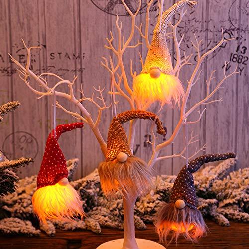 Topcosplay 4er Set LED Weihnachten Wichtel, Schwedische Wichtel Santa Dolls, Long Hut Elf Weihnachten Wichtel Figuren für Kinder Familie Schmuck Deko (4er Set LED)