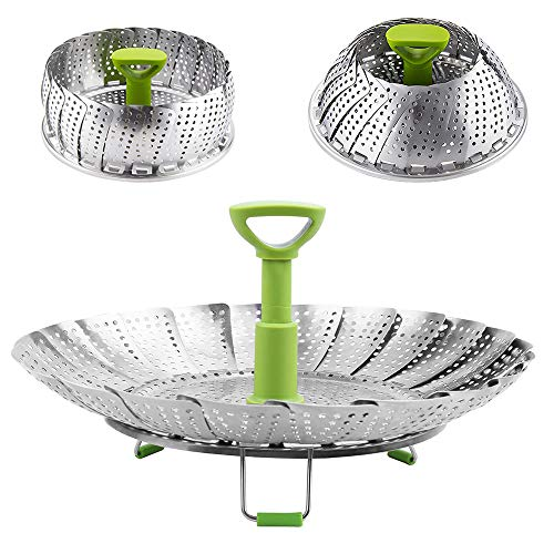 Vegetable Steamer Basket, Stainless Steel Folding Steamer with Extending Removable Center Handle Insert for Veggie Seafood Cooking to Fit Various Size Pot (6.4' to 10')