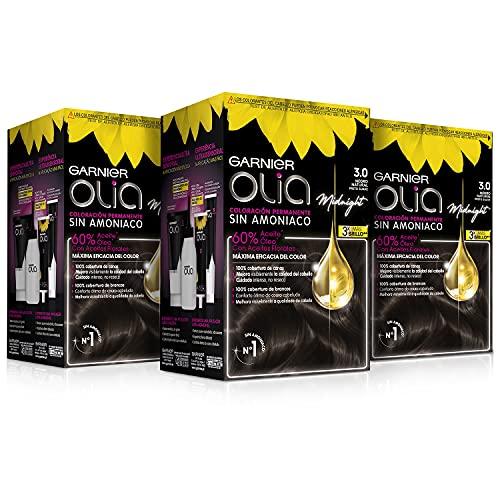 Garnier Olia - Pack de 3 coloración permanente con aceites florales de origen natural sin amoniaco para un olor agradable, color tono 3.0 castaño oscuro