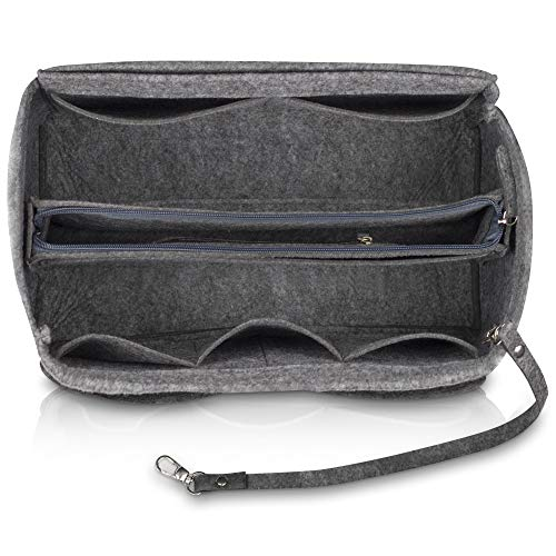 umatter ® Handtaschen Organizer aus Filz mit Schlüsselanhänger und Sicherheitsfach - Ideal als Taschenorganizer baginbag der Handtasche, Bag Organizer (Grau, L)