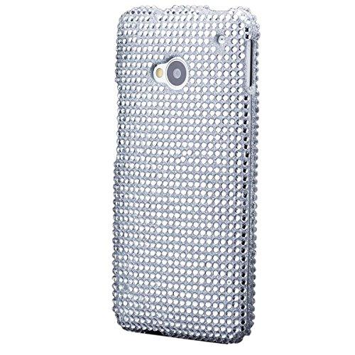 iCues Funda Compatible con HTC One M7 | 2 la Caja del Rhinestone Parte de Plata | [Protector de Pantalla, Incluyendo] Protectora Strass Glitter Cubierta Carcasa Bolsa Cover Case