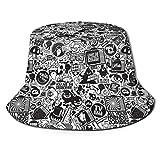 Sombrero de Cubo Mujeres Hombres Sombrero de Cubo de ala Ancha al Aire Libre Protección Solar Gorra de Pescador Arte Retro Negro Trippy