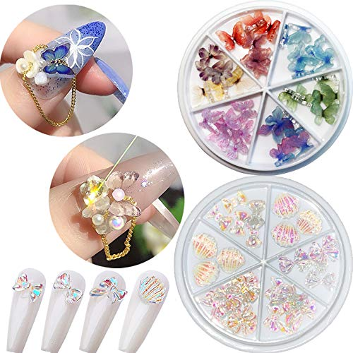 66Pcs 3D Butterfly Nail Art Charms,3D Nail Art Butterfly Bows Acrylic Nails Clear Butterfly Glitter Nail Designs Blue Colorful Butterfly Resin for Nail Art Decoration