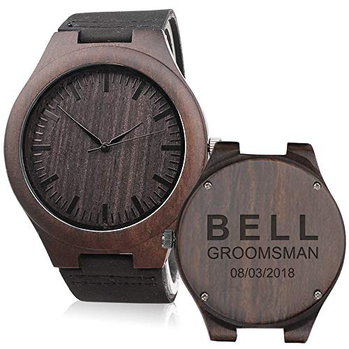 Set of 6 Groomsmen Gift - Groomsman Gifts for Wedding, Wedding Favor Customized Wood Watch w Wood Gift Box - Engraved Black Leather Strap Wooden Watch Custom Personalized Groomsmen Gifts for Men