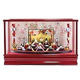 雛人形 コンパクト プレミアム 扇面三段 わらべ雛 10人揃い まり飾り オルゴール付 赤 ガラスケース飾り リュウコドウ ひな人形 HNRK-MRT-A