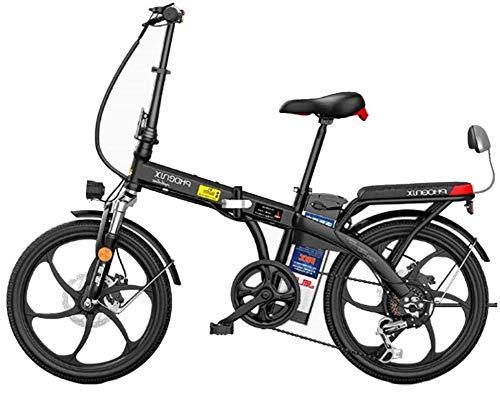 Bicicleta Eléctrica Bicicleta eléctrica plegable de Ebike, bicicleta eléctrica de 20 pulgadas con batería de iones de litio extraíble 48V, 3 modos de trabajo, ebike con batería de litio de 250 vatios