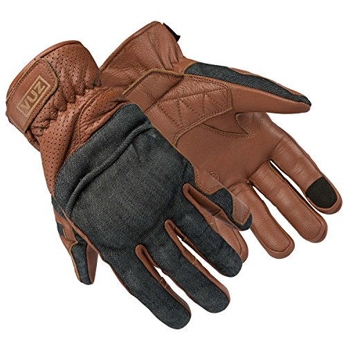Vuz Moto Motorcycle Riding Gloves - Leather Motorcycle Riding Gloves with Denim Accents, Super Breathable Ventilation and Knuckle Protection Plate/Works with All Touch Screens (XL)