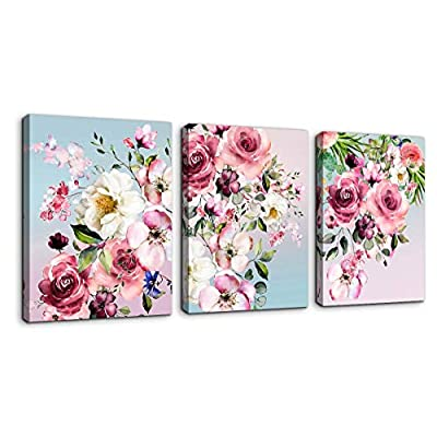 Flower Canvas Wall Art for Bedroom Woman Wall D...