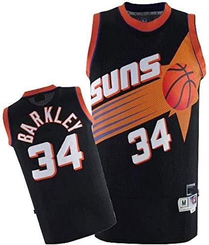 Maglia NBA da Uomo, Charles Barkley # 34 Suns Fan Jersey Top da Basket T-Shirt con Ricamo Fine T-Shirt Senza Maniche Abbigliamento Sportivo,S