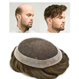 LYRICAL HAIR Toupee with Human Hair for Men Hairstyle Variable Super Thin French Lace Hair Replacement System Grey Black Brown Ash Blonde Poly Skin NPU Around Mens Wig Hairpieces (7'X9', 7# - Very Light Brown)