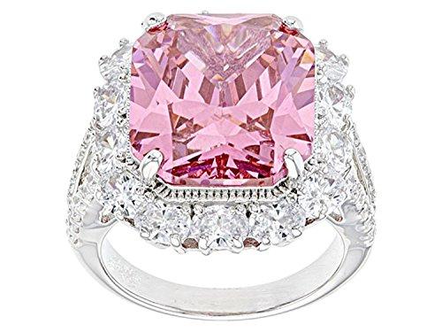 Jalash Fancy Largest Created Pink & CZ Split Shank Wedding Engagement Band Ring in White Gold Plating (6)
