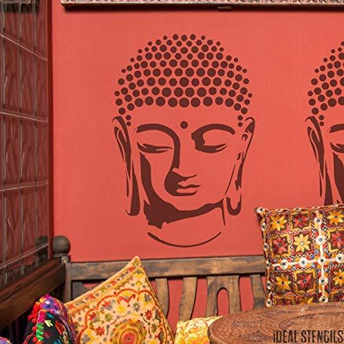 Buddha Kopf Schablone | Art Decor & Basteln Schablone | Farbe Leinwand Kunst, Wände, Stoffe, Möbel | Verschiedene Größen Optionen | Wiederverwendbar Stencil By Ideal Stencils | - XS/ 11X16.5CM