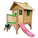 AXI Robin Maison Enfant avec Toboggan Rouge | Aire de Jeux pour l'extérieur en Marron & Vert | Maisonnette / Cabane de Jeu en Bois FSC