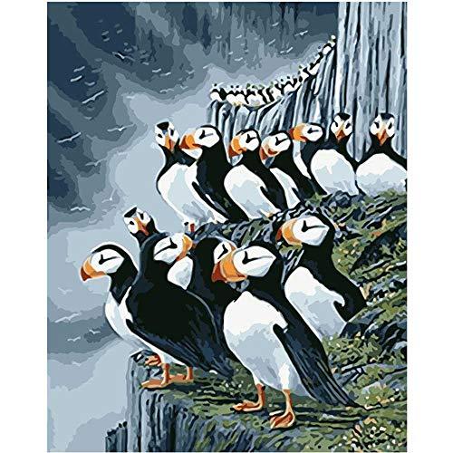 YSNMM Schilderen Door Getallen Diy IJslandse Flock Van Vogels Dier Canvas Bruiloft Decoratie Art Picture Gift