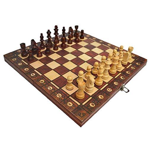 Odoukey Juego de ajedrez de 3 en 1 Placa magnética Plegable Ajedrez Ajedrez Juego de Mesa Plegable de Madera de ajedrez de Brown Junta Set 44 * 44cm