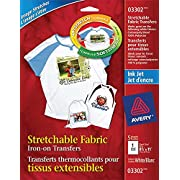 Avery Stretchable T-Shirt Transfers for Inkjet Printers, White, 5 Pack (3302)