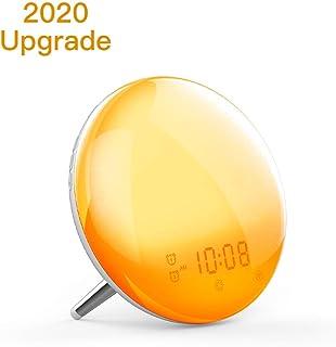 Wake Up Light,Moes WiFi Smart Sunrise/Sunset Simulation Alarm Clock, 2nd Generation Sleep Aid Digital Alarm Clock with 7 Colors/4 Alarms/FM Radio/Snooze Night Light,Work with Alexa