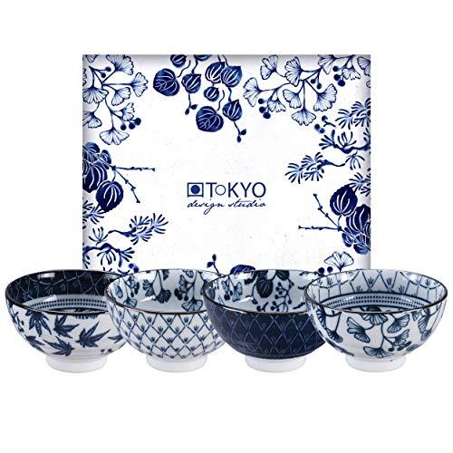 TOKYO design studio Flora Japonica 4-er Schalen-Set blau-weiß, Ø 12 cm, 6,3 cm hoch, ca. 300 ml, asiatisches Porzellan, Japanisches Blumen-Design, inkl. Geschenk-Verpackung