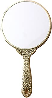 Sevenstar Vintage style Round Vanity Hand held Mirrors Purses Make Up Gold Color Mirror 9.8 x 5.3 inch Round Shaped
