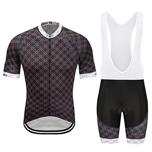 MUBODO Maillots de Cyclisme pour Homme, Cuissard et Manches Courtes, Costume de vélo, séchage Rapide, Respirant, évacuant la Transpiration. - - S