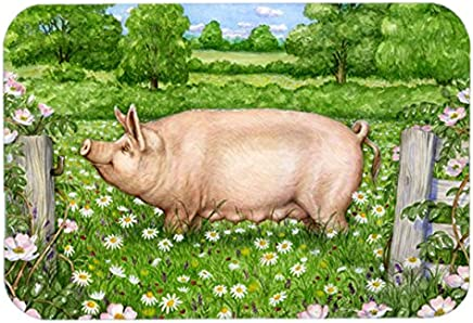 "Caroline's Treasures CDCO0374LCB""Pig in Daises by Debbie Cook"" Glass Cutting Board, Large, Multicolor"