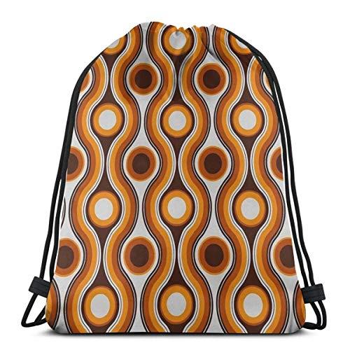 Hangdachang - Mochila con cordón clásico y olas y círculos, mochila con cordón impermeable para adulto, senderismo, mochila de deporte, bolsa de almacenamiento para niños