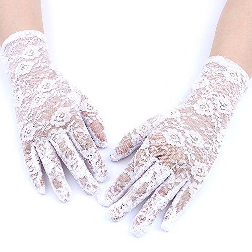 GREATLOVE Women's Summer Elegant Short Lace Elastic Gloves, White, 8.66' long Width 3.15'