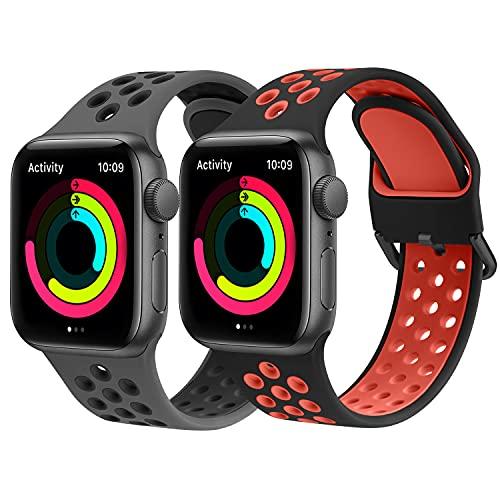 Amzpas Cinturino per Apple Watch 44mm 40mm 38mm 42mm, Cinturini Sportiva in Silicone Morbido e Traspirante per Apple Watch Series 6 5 4 3 2 1 SE, Cinturino per Donna/Uomo