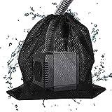 フィルターバッグネットポーチブラックウォーターポンプホームアクアリウムメッシュアウトドアティアレジスタンスフィッシュタンク抗詰まりドローストリング池庭用品(2個)
