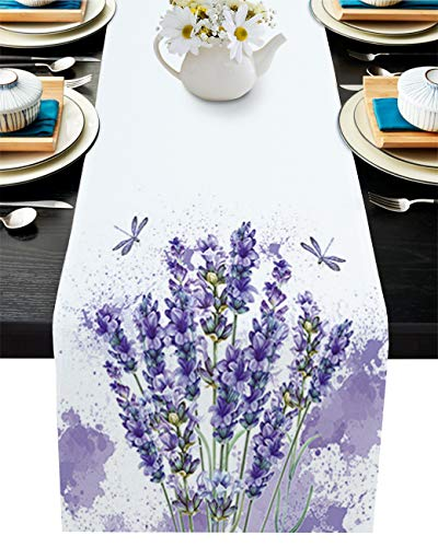 Cotton Linen Table Runner 90inches Long, Purple Flower Lavender, Burlap Table Cloth Dresser Scarves for Farmhouse Dining Room/Holiday/Party/Wedding/Events, Watercolor Butterfly, Machine Washable