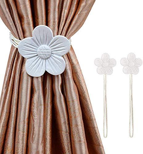 CCHKFEI Camellia Magnetische Vorhang-Raffhalter, 2er-Pack Fenstervorhang dekorative Metall-Clips ohne Bohren Vorhang Raffhalter Blume Vorhang Schnalle mit flexiblem Seil für Home Office Dekor – Weiß