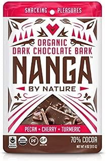 Nanga By Nature - Organic Dark Chocolate Bark -Pecan Cherry Turmeric Flavor - Fair Trade - Sprouted - Gluten Free - Vegan - 4oz Pouch (3 pack)