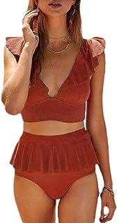 軽蔑する飾る光のSodossny-JP 女性ビーチVネックラッフル水着水着純粋な色水着ビキニセット Red M