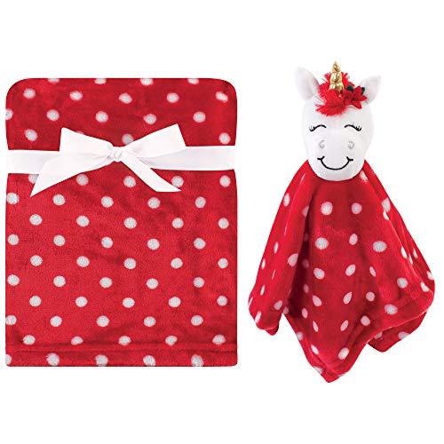 Hudson Baby Unisex Baby Plush Blanket with Security Blanket, Christmas Unicorn, One Size (56885)