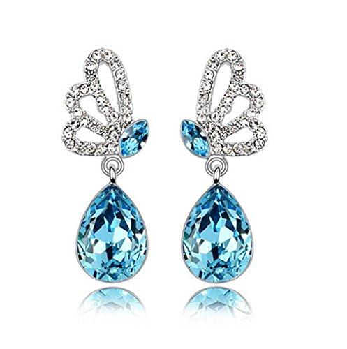 Pour Femme Fille Fantaisie Boucles d'oreilles Papillon Avec Bleu Zirconium Argent 925 Bagues d'oreilles