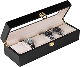 Baskiss Watch Box Organizer 6 Slots, Solid Wood Lockable Watch Case Velvet Interior with Clear Display Top for Men Women