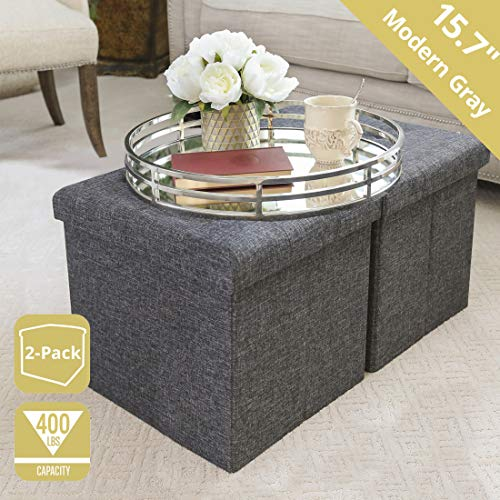 Seville Classics 15.7' Foldable Storage Ottoman Footrest Toy Box Coffee Table Stool, 2-Pack, Charcoal Gray