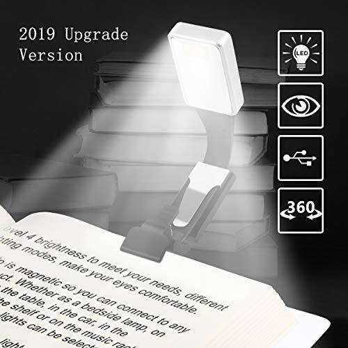 Vegena Leselampe, Buch Klemme Buchlampen, Leselicht, Wiederaufladbar LED Buchlampe mit Zwei Clip, 3-Farbtemperatur Wiederaufladbare LED Leselampe für Kindle,Buch, Ipad, EBook
