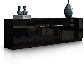TV Cabinet Stand Wood Entertainment Unit High Gloss Storage Shelf with 4 Drawers & 2 Doors Black 180cm