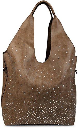 styleBREAKER Beutel Handtaschen Set mit Strassapplikation im Sternenhimmel Design, 2 Taschen, Shopper, Damen 02012031, Farbe:Dunkelbraun