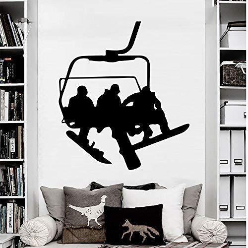 YuanMinglu Neue wandtattoos Snowboard Wintersport Schnee Vinyl Aufkleber Aufkleber Schlafzimmer Sofa Hintergrund Art Deco wandbild tapete schwarz 56x64cm