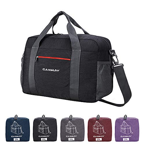 CANWAY Reisetasche Duffel Leichtgewicht Faltbar Handgepäck Sporttasche Einkaufstasche Freizeittasche Weekender für Männer und Frauen Ferien Urlaub(Schwarz, 25L)