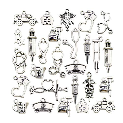 70pcs Craft Supplies Antique Silver Medical Nurse Charms Stethoscope Syringe Nurse Cap Hat Charms for Jewelry Making Crafting Findings Accessory for DIY Necklace Bracelet (M434)
